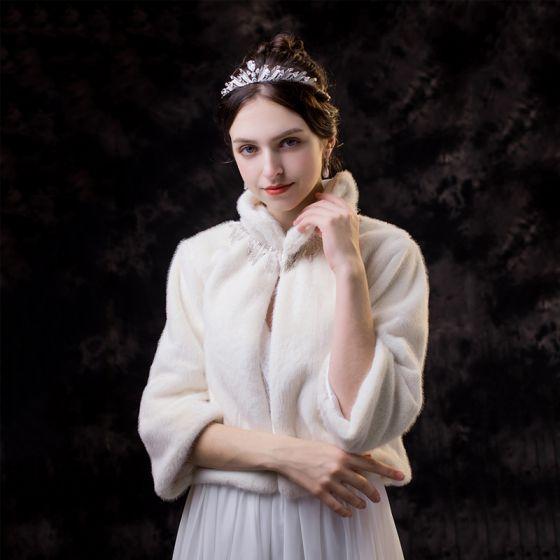 Luxury / Gorgeous White shawl 2020 Beading Rhinestone Polyester High Neck Bridal Wedding Evening Party Prom Winter 3/4 Sleeve Shawls Accessories