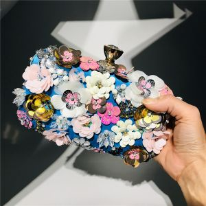 Flower Fairy Royal Blue Square Clutch Bags 2020 Metal Beading Handmade  Flower