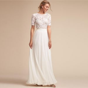 Modest / Simple White Maxi Dresses 2018 A-Line / Princess Lace Scoop Neck Short Sleeve Floor-Length / Long Womens Clothing