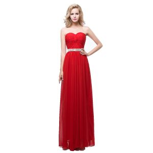 Modest / Simple Red Chiffon Evening Dresses  2018 Empire Sweetheart Sleeveless Rhinestone Sash Floor-Length / Long Ruffle Backless Formal Dresses