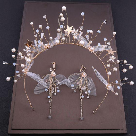 Chic / Beautiful Gold Bridal Jewelry 2020 Alloy Beading Pearl Hair Hoop Earrings Bridal Hair Accessories