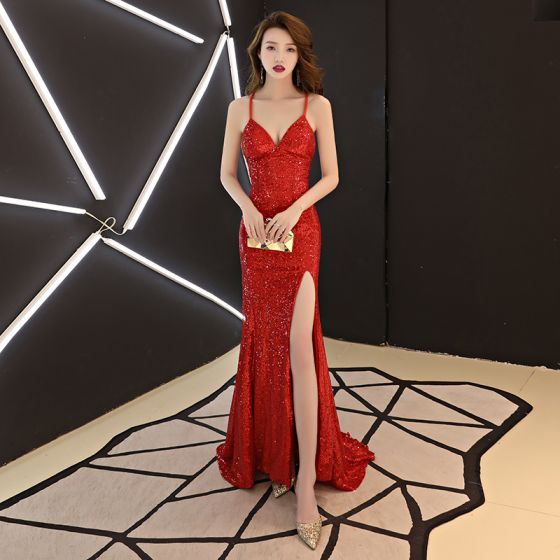 Sexy Modest / Simple Red Evening Dresses  2019 Trumpet / Mermaid Spaghetti Straps Sequins Sleeveless Backless Sweep Train Formal Dresses