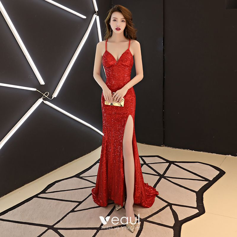 running shoes shades of cheap Sexy Modest / Simple Red Evening Dresses 2019 Trumpet ...