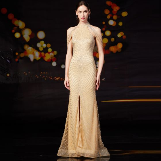 Luxury / Gorgeous Gold Evening Dresses  2020 Trumpet / Mermaid High Neck Sleeveless Handmade  Beading Split Front Sweep Train Ruffle Backless Formal Dresses