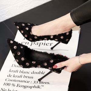 Chic / Beautiful Black Evening Party Pumps 2019 Spotted Tassel 9 cm Stiletto Heels Pointed Toe Pumps