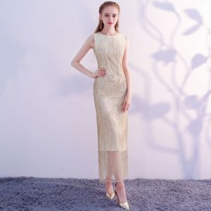 Glitzernden Bling Bling Gold Wadenlang Abendkleider 2018 Mermaid U-Ausschnitt Tülle Perlenstickerei Pailletten Festliche Kleider