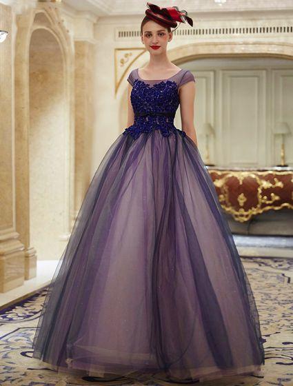 Elegant Glitter Organza Applikationer Spets Kungsblå Balklänning