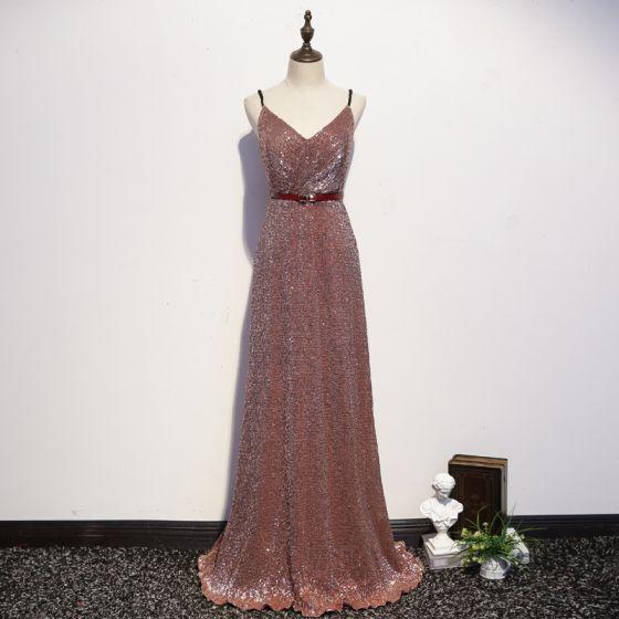 Sexy Glitzernden Rose Gold Abendkleider 2020 A Linie Spaghettiträger Pailletten Schleife Ärmellos Rückenfreies Lange Festliche Kleider