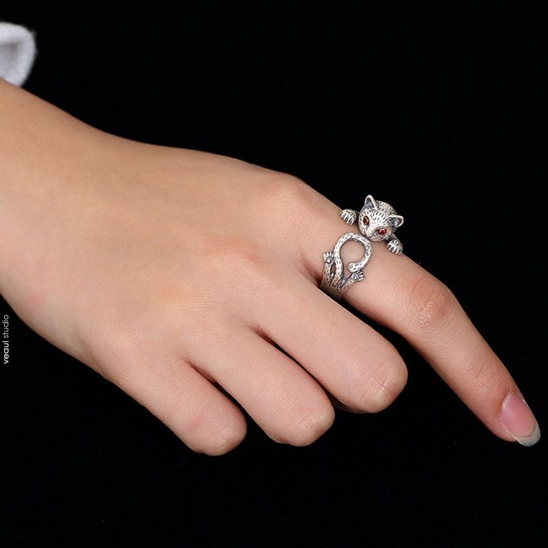 Lovely Silver Cat Ring Sterling Silver Work Holiday Rings 2019 Accessories