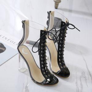 Unique Noire Transparentes Vêtement de rue Sandales Femme 2020 12 cm Talons Épais Peep Toes / Bout Ouvert Sandales
