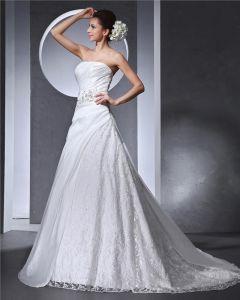 Linke Aplikacja Plisowane Bez Ramiaczek Tafta Satyna Kobieta Koronki Linia Suknie Ślubne Suknia Ślubna Princessa