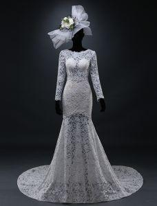 A-line Fyrkantig Ringning Borrat Backless Spets Bröllopsklänningar