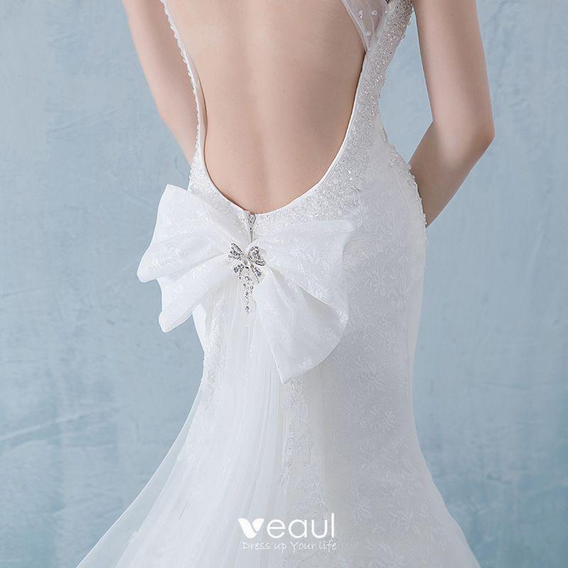White Backless Lace Mermaid Wedding Dresses 2018 V Neck: Chic / Beautiful White Pierced Wedding Dresses 2018