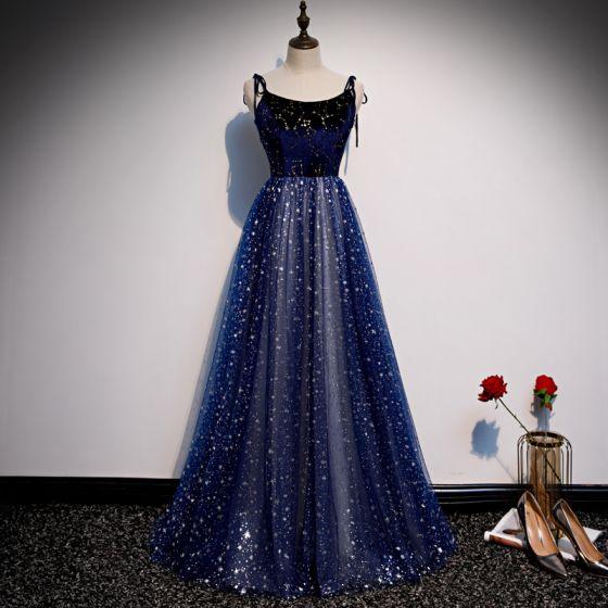 Ciel étoilé Bleu Roi Robe De Soirée 2020 Princesse Bretelles Spaghetti Sans Manches Glitter Tulle Longue Volants Dos Nu Robe De Ceremonie