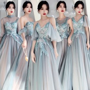 Affordable Mint Green Bridesmaid Dresses 2020 A-Line / Princess Backless Appliques Lace Beading Floor-Length / Long Ruffle