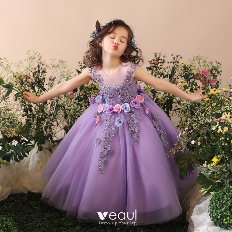 934bf505 Chic / Beautiful Church Wedding Party Dresses 2017 Flower Girl Dresses  Lilac Ball Gown Tea-length Scoop Neck ...