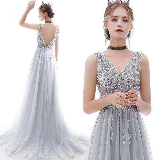 Chic / Beautiful Grey Evening Dresses  2020 A-Line / Princess V-Neck Sleeveless Sequins Beading Sweep Train Ruffle Backless Formal Dresses