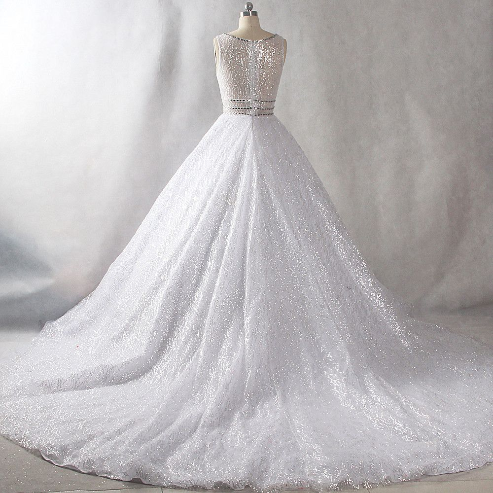 Sparkly Bling Bling White Chapel Train Wedding 2018 U-Neck Tulle Glitter Beading Crystal Sequins Ball Gown Wedding Dresses