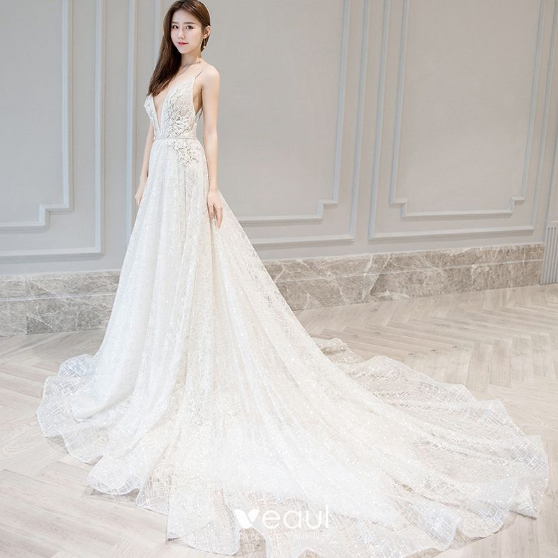 Detachable Cathedral Train Wedding Gown: Sexy Ivory Wedding Dresses 2018 A-Line / Princess