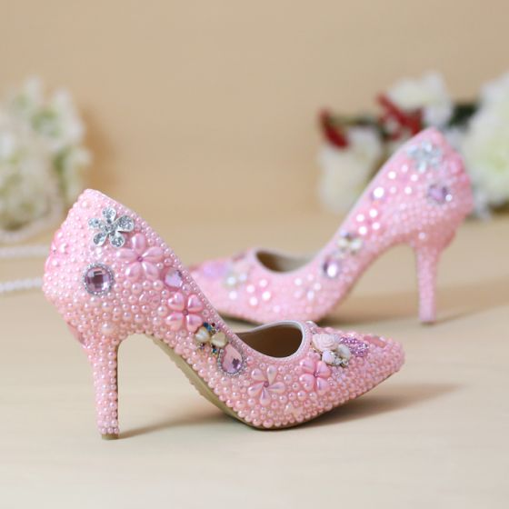 Chic Beautiful 2019 Candy Pink Wedding Shoes Crystal Pearl 8 Cm
