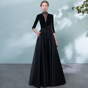 Elegant Black Evening Dresses  2018 A-Line / Princess Sash Pierced High Neck Backless 1/2 Sleeves Floor-Length / Long Formal Dresses