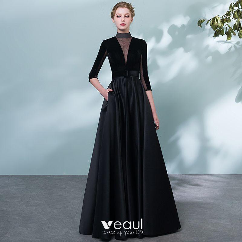 9fc76721b0b56 Elegant Black Evening Dresses 2018 A-Line / Princess Sash Pierced ...