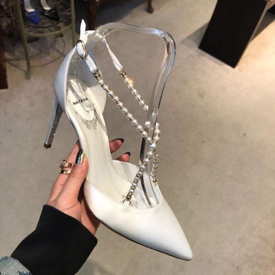 Encantador Marfil Fiesta Zapatos De Mujer 2020 Perla X-Correa 10 cm Stilettos / Tacones De Aguja Punta Estrecha De Tacón