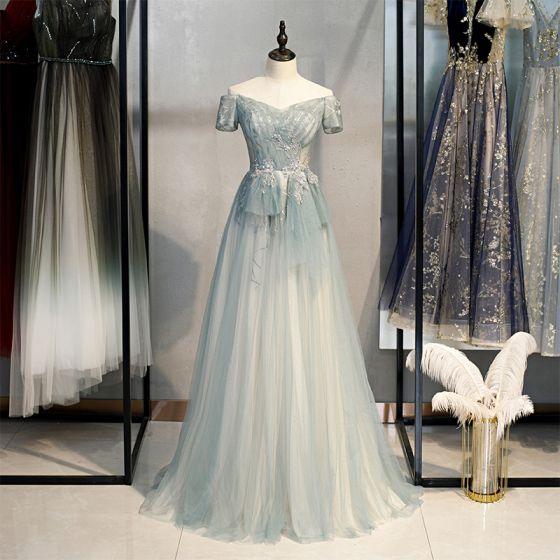 Elegant Sage Green Prom Dresses 2021 A-Line / Princess Off-The-Shoulder Short Sleeve Beading Sequins Sweep Train Ruffle Backless Formal Dresses