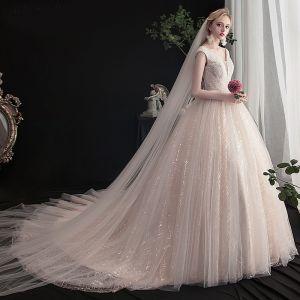 Charmant Champagne Robe De Mariée 2019 Princesse V-Cou Perlage Paillettes En Dentelle Fleur Sans Manches Dos Nu Chapel Train