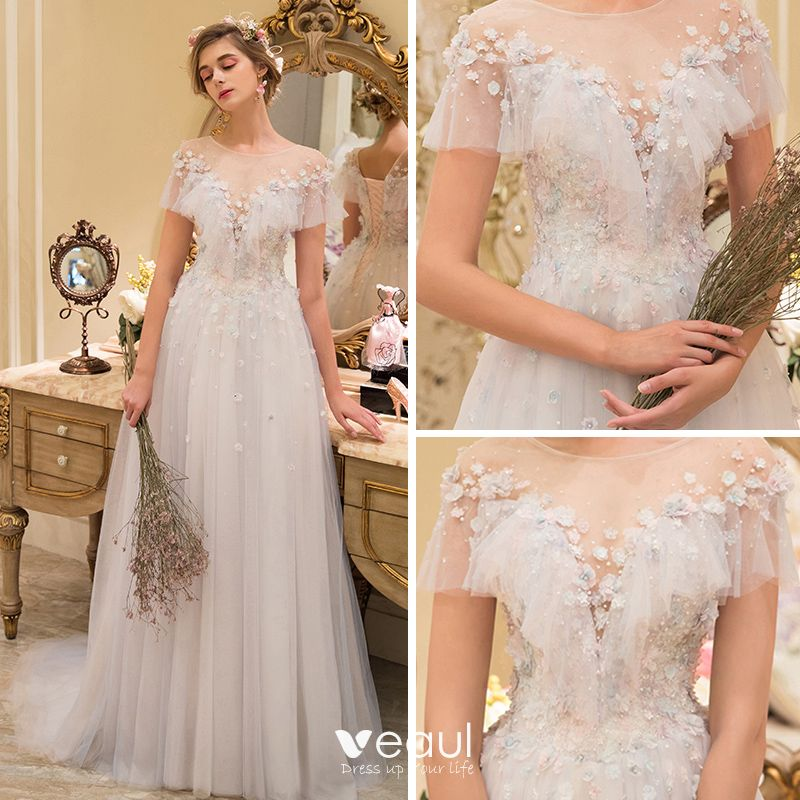 Elegant Champagne See-through Wedding Dresses 2019 A-Line / Princess Scoop Neck Short Sleeve Backless Appliques Lace Pearl Sweep Train Ruffle