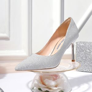 Sparkly Silver Evening Party Pumps 2020 Sequins 8 cm Stiletto Heels Pointed Toe Pumps