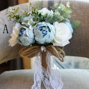 Amazing / Unique Sky Blue Wedding 2019 Beading Crystal Artificial Flowers Wedding Flowers