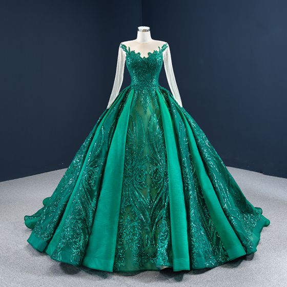Luxury / Gorgeous Dark Green See-through Prom Dresses 2020 Ball Gown Scoop Neck Long Sleeve Appliques Sequins Court Train Ruffle Formal Dresses