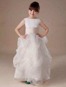 Sash Sleeveless Satin Organza Flower Girl Dress