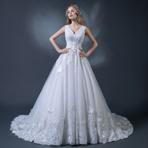 Chic / Beautiful White Wedding Dresses 2018 A-Line / Princess V-Neck Sleeveless Backless Beading Appliques Lace Feather Ruffle Chapel Train