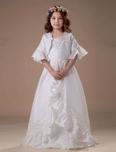 White A-line Square Taffeta Floor Length Flower Girl Dress