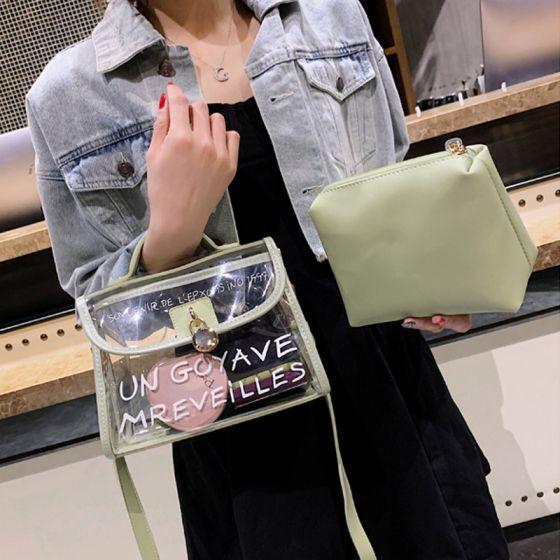 2-delt Salvie Grøn Gennemsigtig Pung Messenger taske Håndtaske 2021 PVC Firkantede Dametasker