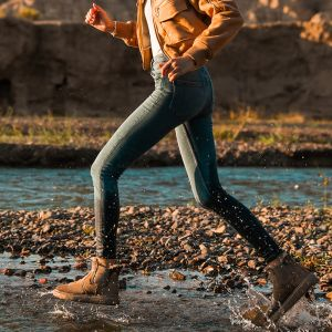 Schlicht Khaki Schneestiefel 2020 Wasserdichte Leder Ankle Boots Winter Flache Runde Zeh Stiefel Damen