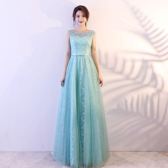Modest / Simple Pool Blue Prom Dresses 2018 A-Line / Princess Lace Appliques Bow Scoop Neck Sleeveless Floor-Length / Long Formal Dresses