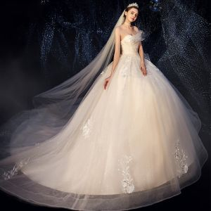 Chic / Beautiful Champagne Wedding Dresses 2019 Ball Gown Sweetheart Sleeveless Backless Appliques Lace Sequins Glitter Tulle Cathedral Train Ruffle