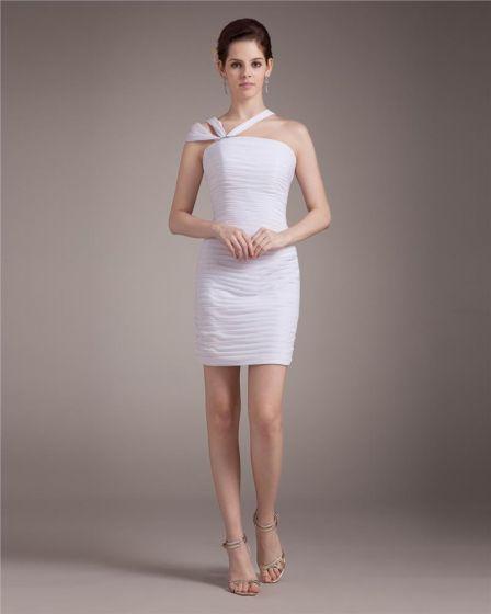 Linke Jedno Ramie Plisowana Mini Szyfon Kobieta Tanie Sukienki Koktajlowe Sukienki Wizytowe