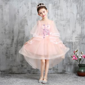 High Low Pearl Pink Flower Girl Dresses 2020 A-Line / Princess See-through Scoop Neck 1/2 Sleeves Appliques Lace Beading Asymmetrical Ruffle