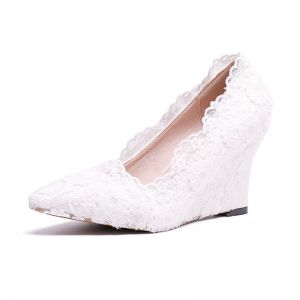 Chic / Beautiful Ivory Prom Womens Shoes 2020 Lace Flower Pointed Toe 8 cm Wedges
