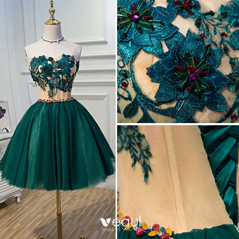 Chic / Beautiful Green Graduation Dresses 2017 A-Line / Princess Lace Strapless Appliques Backless Beading Homecoming Cocktail Party Formal Dresses
