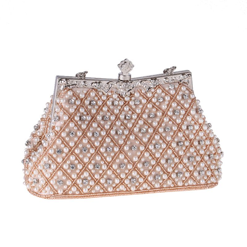 Chic / Beautiful Silver Rhinestone Beading Pearl Clutch Bags 2019