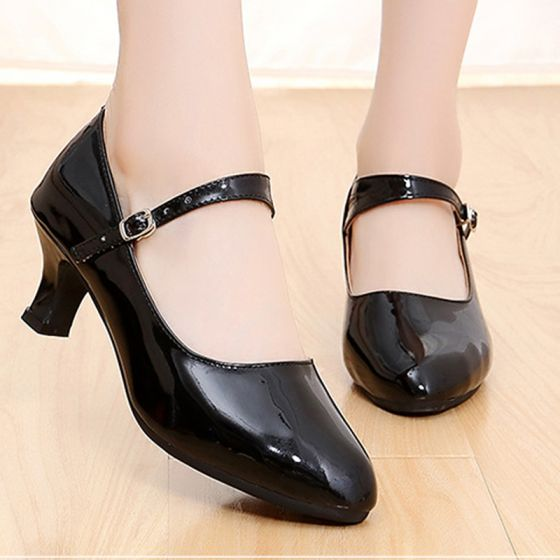 Romantic Lovely Black Latin Dance Shoes 2020 5 cm Dancing Prom Laser Buckle Heels Round Toe Womens Shoes