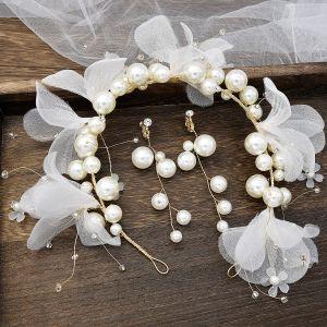Blumenfee Ivory / Creme Brautschmuck 2020 Metall Perlenstickerei Perle Blumen Haarbügel Ohrringe Hochzeit Brautaccessoires