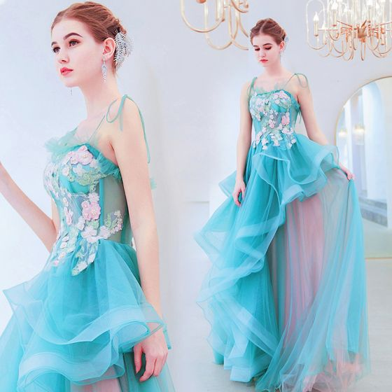 Charming Jade Green Evening Dresses  2019 A-Line / Princess Spaghetti Straps Pearl Rhinestone Lace Flower Sleeveless Backless Floor-Length / Long Formal Dresses