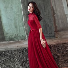 Chic / Beautiful Burgundy Evening Dresses  2019 A-Line / Princess High Neck Spotted Bow 1/2 Sleeves Floor-Length / Long Formal Dresses