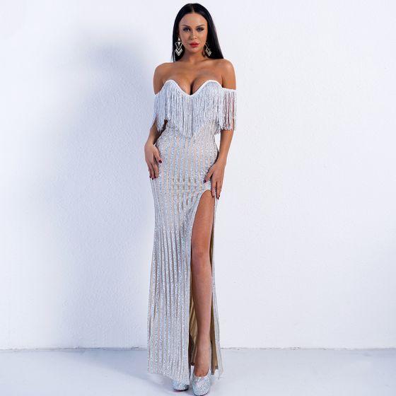 Sexy Silber Abendkleider 2020 Meerjungfrau Off Shoulder Kurze Ärmel Quaste Glanz Tülle Gespaltete Front Lange Rückenfreies Festliche Kleider